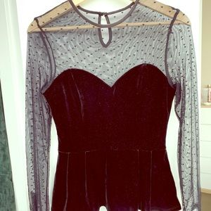 H&M Black Velvet and Mesh Peplum Top